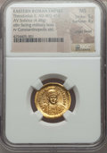 Ancients:Roman Imperial, Ancients: Theodosius II, Eastern Roman Emperor (AD 402-450). AVsolidus (4.48 gm). NGC MS 5/5 - 4/5, slight bend....