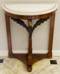 Furniture , A Pair of Empire-Style Carved Fruitwood Consoles with Marble Tops, late 19th century. 35 h x 29 w x 17-1/2 d inches (88.9 x ... (Total: 2 Items)