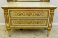Furniture : French, A Louis XVI-Style Painted and Gilt Two-Drawer Commode, 20thcentury. 37 h x 50 w x 25 d inches (94.0 x 127 x 63.5 cm). ...