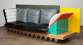 Furniture , Peter Shire (American, b. 1947). Custom Big Sur Settee, circa 1986. Lacquered and veneer wood, steel, leather. 40 x 126 ...