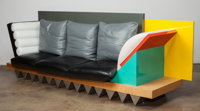 Peter Shire (American, b. 1947) Custom Big Sur Settee, circa 1986 Lacquered and veneer wood, steel