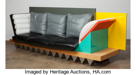 Peter Shire (American, b. 1947) Custom Big Sur Settee, circa 1986 Lacquered and veneer wood, steel, leather 40 x 126 ...