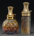 Art Glass:Lalique, Two R. Lalique Glass Atomizers for Molinard. Figurines etGuirlandes with green patina, and Calendal. Circa 1923& 1... (Total: 2 Items)