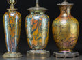Art Glass:Other , Three Durand Swirled Lustre Glass and Metal Table Lamps. Circa1910. Ht. 27 in.. ... (Total: 3 Items)