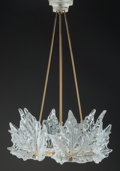 Art Glass:Lalique, Lalique Clear and Frosted Glass Champs Elysees Chandelier.Late 20th century. Ht. 30-1/2 x Di. 19 in.. ... (Total: 5 Items)
