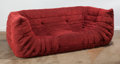 Furniture : French, Michel Ducaroy (French, b. 1925). Togo Sofa, designed 1973,produced 2013, Ligne Roset. Red Alcantera, dense polyester f...