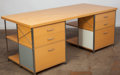 Furniture , American School (20th/21st Century). Unique Case Study Partner's Desk, post 1987, Modernica. Plywood, Masonite, plated-s... (Total: 2 Items)