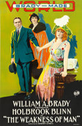 "Movie Posters:Drama, The Weakness of Man (World Film Corporation, 1916). One Sheet (26""X 40.5"").. ..."