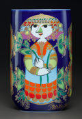 Ceramics & Porcelain, Continental:Other , Bjorn Wiinblad (Danish, 1918-2006). Woman with Flowers Vase,Rosenthal. Transfer printed porcelain. 7-1/8 inches high (1...