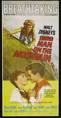 "Third Man on the Mountain (Buena Vista, 1959). Three Sheet (41"" X 81""). James MacArthur is a young climber det..."