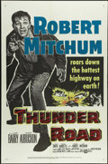 "Movie Posters:Action, Thunder Road (United Artists, 1958). One Sheet (27"" X 41""). RobertMitchum wrote and stars in this film about moonshiners. H..."