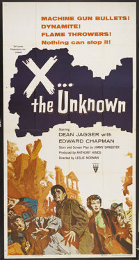 "X the Unknown (Warner Brothers, 1957). Three Sheet (41"" X 81""). Dean Jagger stars in this horror movie about a..."