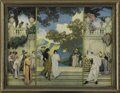 Prints:American, MAXFIELD PARRISH (American 1870 - 1966). Triptych in color,Love's Pilgrimage, Garden of Opportunity, and A Call toJo...