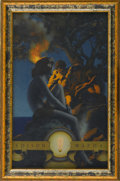 Prints:American, MAXFIELD PARRISH (American 1870 - 1966). Edison Mazda Calendar,Small Cropped. The Primitive Man, 1921. Period print on pape...