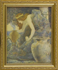 Prints:American, MAXFIELD PARRISH (American 1870 - 1966). Gulnare of the Sea. FromThe Arabian Nights, Their Best-Known Tales Edited By K...