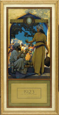 Prints:American, MAXFIELD PARRISH (American 1870 - 1966). Edison Mazda Calendar,Large Complete. The Lamp Seller of Bagdad, 1923. Period prin...