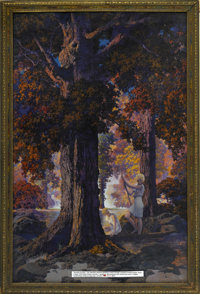 MAXFIELD PARRISH (American 1870 - 1966) Golden Hours (Only God Can Make a Tree), 1929 Period print on paper (from a larg...