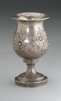 Other:American, A STERLING GOBLET. Maker unknown. The sterling goblet with repousseflower motif to body and base, hallmark to underside. ...