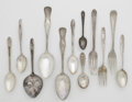 Other:American, A GROUP OF AMERICAN SILVER SPOONS AND FORKS. Various makers,Twentieth Century. The group comprises three forks; two servi...