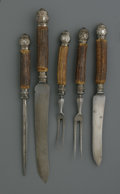 Decorative Arts, British:Other , FIVE PIECE CARVING SET. Various makers, including Sheffield,England, 1902-1903. The antler-handled, five piece carving se...(Total: 5 Items)