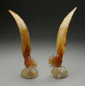 Art Glass:Other , A PAIR OF VENITIAN GLASS ROOSTERS. Murano, Italy. The pair of glassroosters with elongated tail feathers of amber cased i...