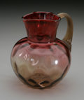 Art Glass:Other , AN AMERICAN THUMBPRINT PATTERN AMBERINA GLASS PITCHER. New EnglandGlass Co., c.1890. The bulbous form and cylindrical tri...