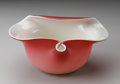 Art Glass:Other , AN AMERICAN ART GLASS BOWL. Maker unknown. The peach blow bowl withpinch and fold-over rim cased in white. 2.25in. high x...