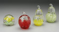 Art Glass:Other , FOUR AMERICAN GLASS PAPERWEIGHTS. Probably Joe St. Clair, c.1970.Including a controlled-bubble yellow flower on green gro...