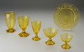 Art Glass:Steuben, A SIX-PIECE PLACE SETTING OF AMERICAN 'VINEYARD ETCH' BRISTOLYELLOW GLASS. Steuben, c.1925. Comprising an ice tea glass, ...(Total: 6 Items)