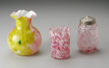 Art Glass:Other , A GROUP OF THREE AMERICAN SPATTER GLASS ITEMS. Makers unknown,c.1890. Comprising a clear mold-blown sugar caster spattere...(Total: 3 Items)