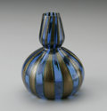 Art Glass:Other , AN ITALIAN ART GLASS VASE. Maker unknown, Twentieth Century. Thedouble gourd form in clear blue and gold bands with a thi...