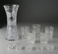 Art Glass:Other , ELEVEN AMERICAN GLASS TABLE ITEMS. Makers unknown, c.1910.Comprising a pair of pressed glass napkin rings with Rmono... (Total: 11 Items)