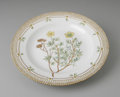 Decorative Arts, Continental:Other , A DANISH 'FLORA DANICA' DINNER PLATE. Royal Copenhagen,mid-Twentieth Century. The Potentilla fruticosa L. 'shrubbycinque...