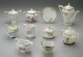 Decorative Arts, Continental:Other , A PORCELAIN TEA SERVICE. R.S. Prussia. The ten (10) piece teaservice including covered creamers, covered sugar holders, a...(Total: 10 Items)