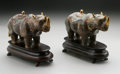Decorative Arts, Continental:Other , A PAIR OF CHINESE CLOISONNE RHINOSAURUS... (2 Items)