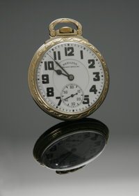 A GOLD POCKETWATCH Hamilton Watch Co., Lancaster, PA  The twenty-one (21) Jewel yellow gold, 10k gold filled case timepi...