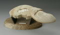 Other:American, IVORY SCULPTURE. Maker unknown. The ivory sculpture depicting awhale with pivot, opening to interior carving of Jonah, fr...