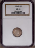 Barber Dimes: , 1906-S 10C MS65 NGC. NGC Census: (14/10). PCGS Population (14/12).Mintage: 3,136,640. Numismedia Wsl. Price: $1,075. (#4841...