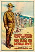 "Movie Posters:War, Who Leads the National Army! (Triangle, 1917). WWI Recruitment Film One Sheet (27.5"" X 41"").. ..."