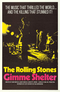 """Gimme Shelter (20th Century Fox, 1970). One Sheet (27"""" X 41"""") Yellow Style"""