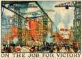 "Movie Posters:War, World War I Propaganda (Emergency Fleet Corp., 1918). Poster (40"" X54.5"") ""On the Job for Victory,"" Jonas Lie Artwork.. ..."