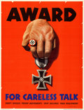"Movie Posters:War, World War II Propaganda (U.S. Government Printing Office, 1944). Propaganda Poster (28.5"" X 37"") ""Award for Careless Talk."" ..."