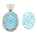 Estate Jewelry:Lots, Blue Topaz, Diamond, White Gold Jewelry. ... (Total: 2 Items)