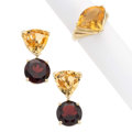 Estate Jewelry:Suites, Garnet, Citrine, Gold Jewelry Suite. . ... (Total: 3 Items)