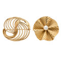 Estate Jewelry:Brooches - Pins, Cultured Pearl, Gold Brooches. ... (Total: 2 Items)