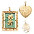 Estate Jewelry:Pendants and Lockets, Aventurine Quartz, Gold Pendants. . ... (Total: 3 Items)