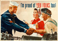 "Movie Posters:War, World War II Propaganda (U.S. Government Printing Office, 1944).Navy Poster (28.5"" X 40"") ""I'm Proud of You Folks Too!,"" Jo..."