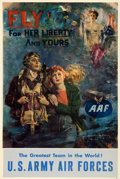 "Movie Posters:War, World War II Propaganda (U.S. Government Printing Office, 1944).Army Air Forces Poster (25"" X 38"") ""Fly for Her Liberty and..."