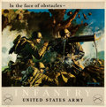 "Movie Posters:War, World War II Propaganda (U.S. War Department, 1943). U.S. Army Infantry Poster (32.5"" X 33"") ""In the Face of Obstacles - Cou..."