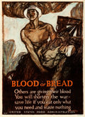 "Movie Posters:War, World War I Propaganda (United States Food Administration, 1917).Poster No. 16 (21"" X 29"") ""Blood or Bread,"" Henry Raleigh ..."